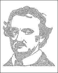 Word Portrait of Edgar Alan Poe - David DeSouza, Illustrator